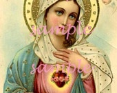 no1048 Holy Images - INSTANT Digital Download - Antique Prayer Card - Collage Art Supplies - Religious