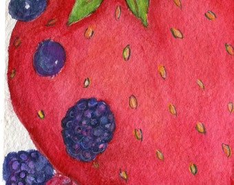 Berries watercolor, strawberry, raspberries, blueberries watercolors paintings 4 x 6 blue/red kitchen food art, SharonFosterArt