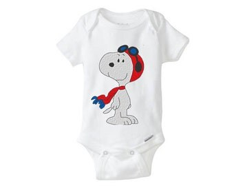 Aviator Snoopy embroidered Baby Girl Boy Onesie, embroidered onepiece, baby undershirt, unisex baby