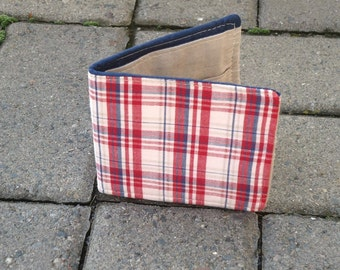 Slim Cotton Wallet in Red, White and Blue Plaid, Vegan Wallet, Groomsmen Gift, Boyfriend Gift, Summer wallet, Last One