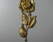 2 Brass Rose on a Stem with 3 Leaves Stampings / Findings