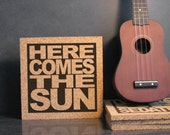 THE BEATLES - Lyric Wall Hanging - Here Comes The Sun - Kitchen Art Kitchen Hot Pad Trivet -