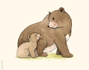 Woodland nursery, Bear print, forest animal, Bear illustration, animal alphabet print, B is for Bear, Bear and cub