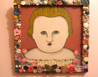weird girl painting ,mastroni,outsider, cupcake, butterfly pin,button frame, jewels, encrusted,  whimsical painting, original acrylic,  girl