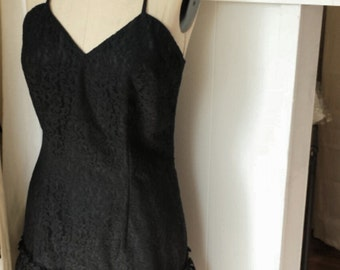 Vintage A. Vincenti Black Lace Dress