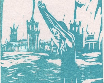 Limited Edition Linoleum Print - Take the Plunge - in Aqua