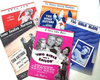 1940s Sheet Music, Hollywood Musicals, Vintage Ephemera, Movie Star Photos, Piano Music, Betty Grable, Rita Hayworth, Errol Flynn
