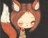 Fox Print Tattooed Girl Fuzzy Fox Wall Art Whimsical Red Fox Portrait