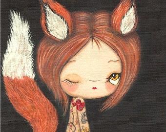 Fox Print Tattooed Girl Fuzzy Fox Wall Art Whimsical Red Fox Portrait