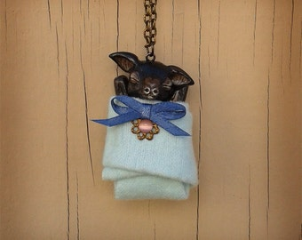 Mimo The Baby Bat In A Blanket Pendant Polymer Clay Jewelry Necklace Fantasy Animal Miniature Sculpted Original Pup Gothic Macabre Cute Dark