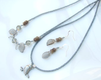 Layered SET - Leafy Czech Glass and Bird Pendant TWO Necklaces & Earrings