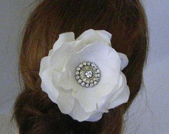 Vintage Bridal Hair Fascinator,  Vintage Rhinestone Bridal comb, Wedding Headpiece, Silk Bridal flower, Accessories- FELISHA