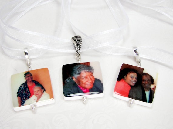 Wedding Bouquet Memorial Charms. 3 Medium Photo Charms with Fancy Bails - BC2x3
