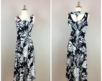 Black and white floral print midi sundress / racer back floral sundress