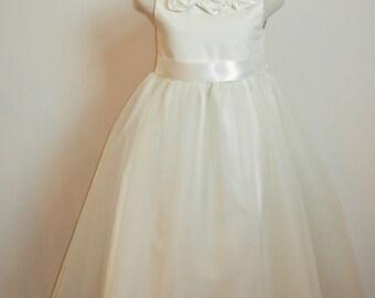 Ivory Flower Girl Dress, Tulle Shabby Chic, Organic Cotton Girl Dress with tulle overlay skirt