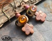 Handmade Cotton Candy Lampwork and Copper Paisley Flower Headpin