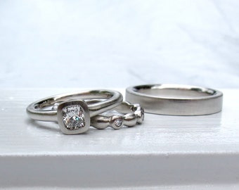 Wedding ring set, cushion cut diamond engagement ring and diamond eternity ring, men's wedding band, women's wedding band, bezel set ring