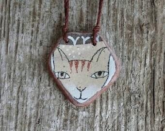 Beach Pottery Cat Necklace
