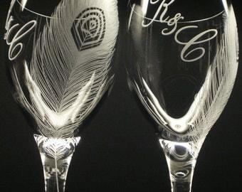 2 Custom Wine Glasses 'Peacock Feathers' Peacock Wedding Personalized Monogram