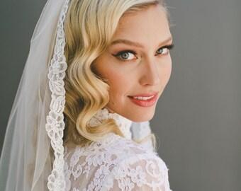 Lace Wedding Veil, Alencon Lace Veil, Corded Lace Veil, Bridal Veil, Mantilla Veil, Ivory Veil, Scalloped Lace Border Veil, Lace Edge #1555