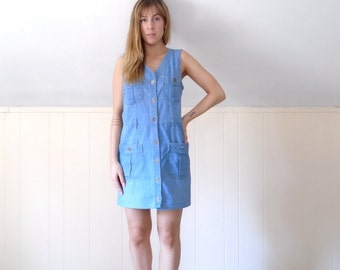 Sleeveless Denim Button Down Mini Shift Dress - Vintage 90s - SMALL S