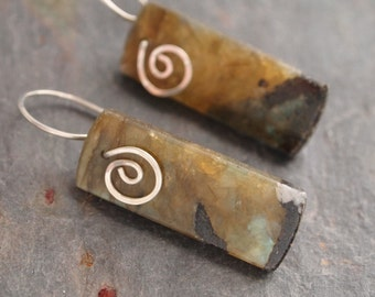 Hand Forged Silver and Labradorite Stone Earrings