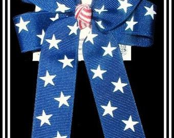 Fourth of July Hair Bows,Patriotic Hair Bows, Red and Blue Hair Bows,Royal with white stars hair bow,nautical hair bows