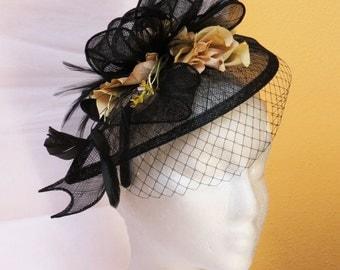 Wedding Fascinator - wedding hat vintage beige flower veil fascinator  hat PAULA