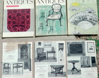 Lot of 7 mid century 1958 Antiques Straight Enterprises magazines Victorian early 1900s decorative art decor history ads photography prints