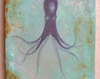 Purple Octopus 5x7 art tile
