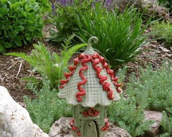 Fairy House ceramic handbuilt Whimsical garden art outdoor ornament fairy garden toad house keepsake ooak red pippin green home and living