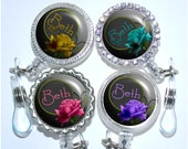 Retractable ID Badge Reel - Personalized Colorful Rose Bling Nurse Id Holder (A123)