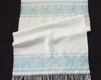 Old Fringed Linen Damask Towel Blue Flowers