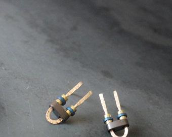 Minimal Tiny Gold Filled and Hematite U Shaped Stud/Post Earrings