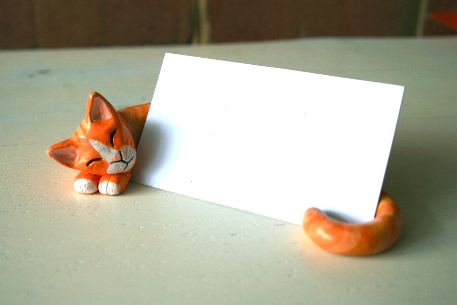 Customized clay cat business card holder by lilijane on etsy for Cat business card holder