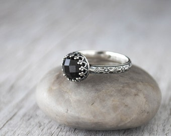 Rose cut Onyx Ring - Sterling Silver Onyx Ring - Handcrafted Artisan Ring - Black Onyx Cabochon Ring