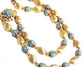 Engraved Gold Tone Bead and Turquoise Necklace