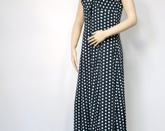 Vintage Maxi Dress Polka Dot Long Dress Vintage Sleeveless Maxi Button Front Empire Waisted Full Skirt Dress Size 6