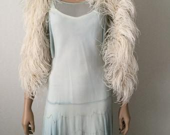 Vintage Moonlight Ivory 1930's Fluffy Marabou Ostrich Feather Boa...Wedding...Bridal