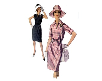 1960s Dress and Hat Pattern Straight Blouson Dress Floppy Sectioned Sun Hat Sleeveless Simplicity 5869 Bust 36 Vintage Sewing Pattern