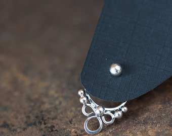 Dainty front back earring SET, handcrafted sterling silver ear jackets and silver dot stud earrings, trendy gift for her