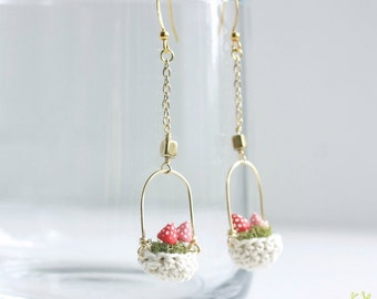 Tiny Mushroom Earrings - hanging basket, moss woodland earrings, fairy jewelry, faerie, mori girl, miniature mushroom basket, nickel free