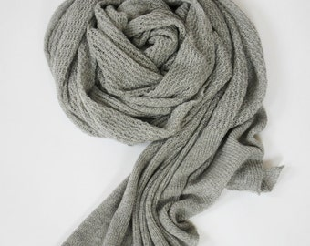 knitted merino wool lace shawl stole scarf color grey