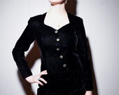 Sale - 1980s Black Velvet Wiggle Dress with Rhinestone Buttons - S