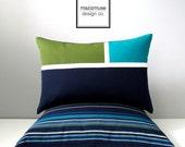 Green & Blue Outdoor Pillow Cover, Modern Color Block Pillow Cover, Olive Teal Navy Blue Throw Pillow Case, Indigo Sunbrella Cushion Cover