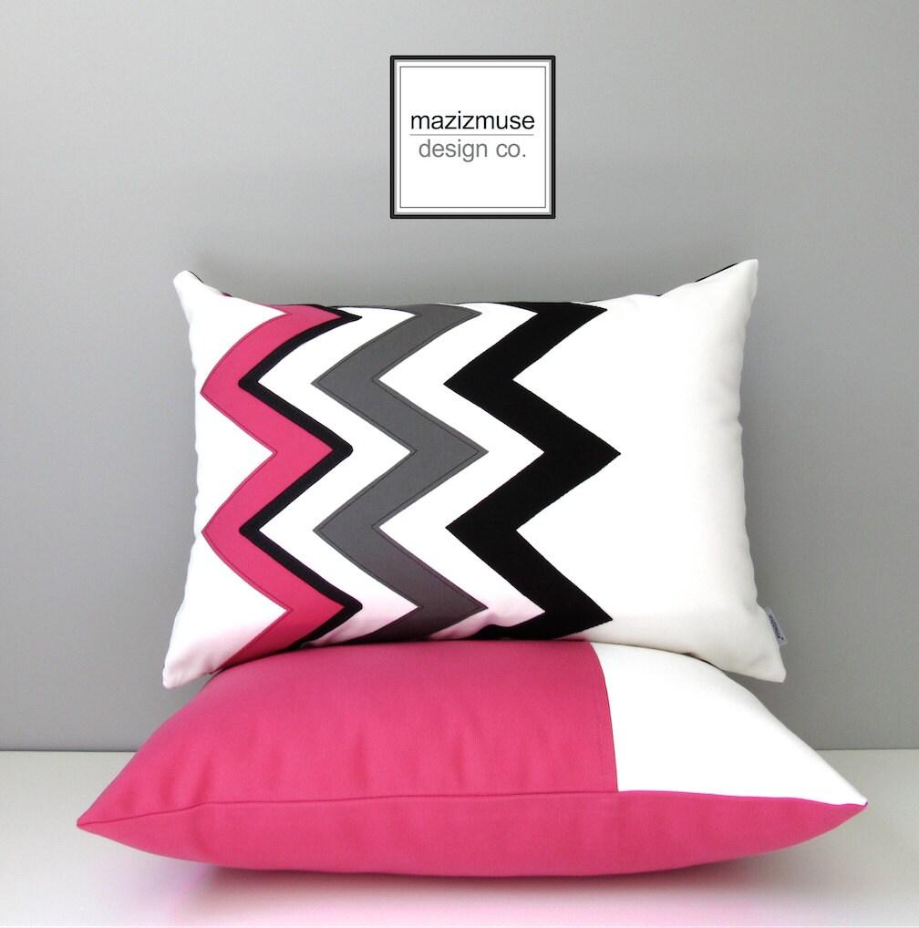 Modern Pink Pillow : Hot Pink Chevron Pillow Cover Modern Outdoor Pillow Cover