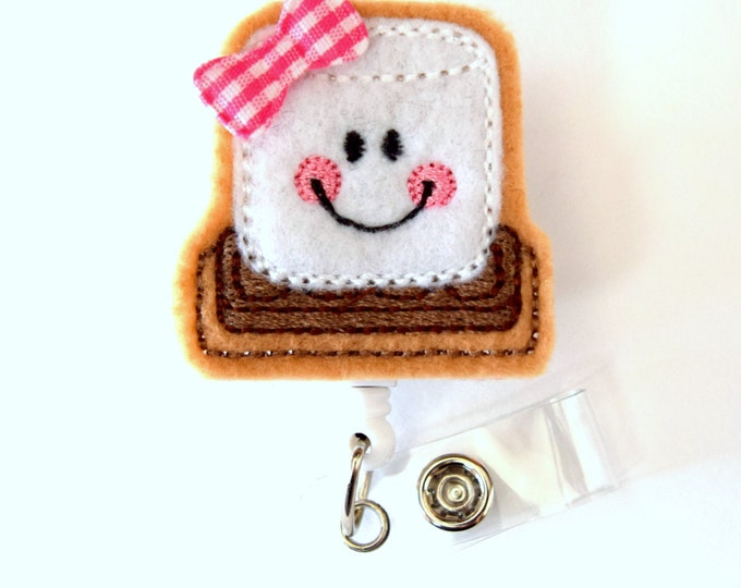 Smiling Smore - Retractable ID Badge Reel - Medical Badge Holder - Cute Badge Reel - Nurse Badge Holder - Nursing Badge Clip - Teacher Badge