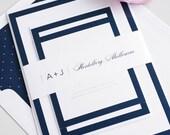 Navy Wedding Invitation, Borders, Simple Wedding Invite - Sophisticated Wedding Invitations Navy Blue
