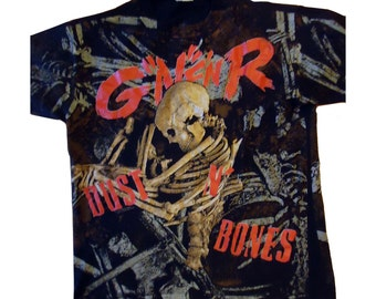 vintage tshirt GuNS N RoSES DuST N BoNES 1992 Tour rock punk LARGE skull all over print Brockum Use Your Illusion