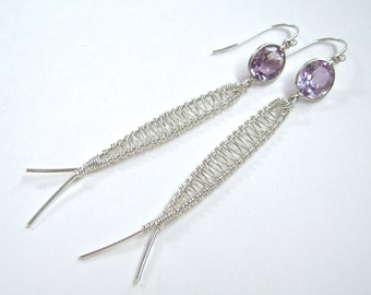 Amethyst Earrings, Sterling Silver, Wire Wrapped, Faceted Gemstones, Fish, Ichthys, 940
